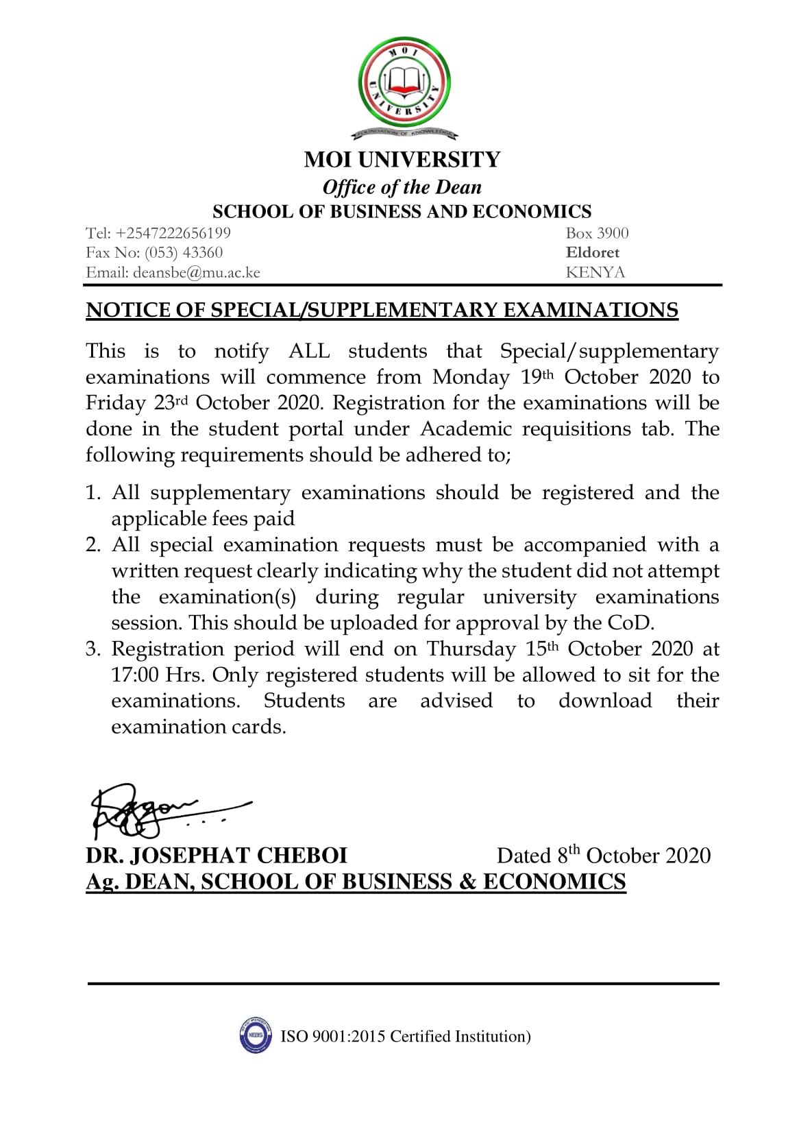 Notice of Special Supplementary Exams October 2020